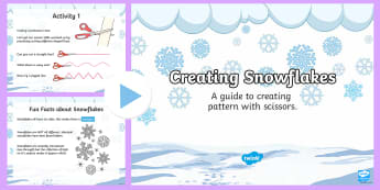 CfE (Second) Winter Art Lesson 3: Creating snowflakes PowerPoint - Winter, Art, Craft, Snowflakes, Paper, Cutting, Shape,Scottish
