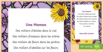 Poème : Une maman - La fête des mères - La fête des mères, cycle 3,cycle 2,  KS2, Mother's Day, 28th May, 28 mai, maman, poème, poésie,