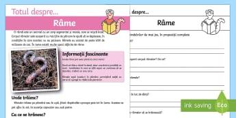 Râmele - Fișe diferențiate de evaluare a competenței de lectură - râme, mici viețuitoare, română, citire, medii de viață, lectură, evaluarea competentei de lec