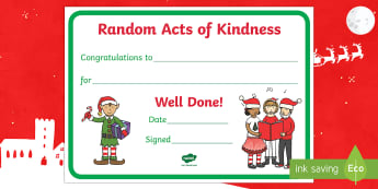 Random Act of Kindness Reward Certificate - kind, award, thoughtful, hold the door, play with someone