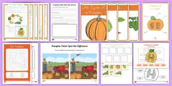 Life Cycle of a Pumpkin Activity Pack -  fall, autumn, growing pumpkins, Pumpkin activities, pumpkin worksheets, pumpkin printables, seasona