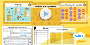 PlanIt Maths Y4 Fractions Lesson Pack Halves and Quarters