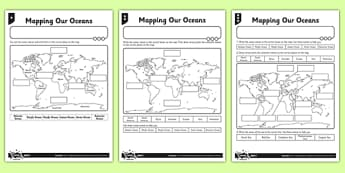 Differentiated Mapping Our Oceans Worksheet / Activity Sheet - differentiated, mapping, oceans, activity, worksheet