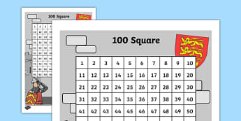 Castle Themed 100 Square - castles, knights, counting aid, count