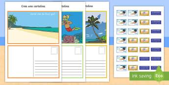 Crea una cartolna Attività - scrivi, scrivere, cartolina, mare, vacanza, estiva, francobollo, posta, lettere, italiano, italian,