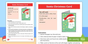 Santa Christmas Card Sensory Activity - Sensory, Art, Craft, Hand, Body Part, Paint, Print, Christmas, Christmas Card, Special Education, Co