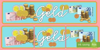 Geld Banner für die Klassenraumgestaltung - Geld, Währung, Euro, Cent, Rechnen, Deko,,Spanish