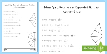 Identifying Decimals in Expanded Notation Activity Sheet - decimal, word form, expanded form, standard form, Place Value, 5th grade, worksheet, 5.NBT