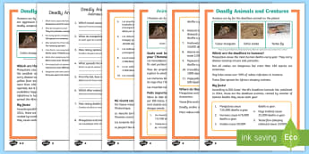 Deadly Animals and Creatures Differentiated Reading Comprehension Activity English/French - sharks, lions, snakes, mosquitoes,deadly, animals, creatures, KS1 reading, non-fiction, information,