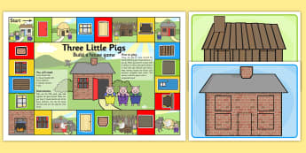 The Three Pigs House Building Board Game - the three little pigs, building, boardgame, games, activities, themed boardgames, board game, classroom activity