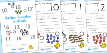 Number Formation Workbook - numbers, form, fine motor skills, overwriting