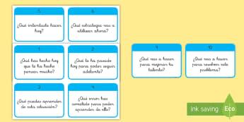 Tarjetas educativas: 10 preguntas para desarrollar el crecimiento emocional - 10 preguntas, tarjetas, tarjeta, educativa, educacional, desarrollo emocional, mentalidad crecedora,