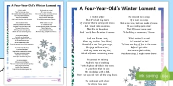 KS2 A Four-Year-Old's Winter Lament Poem  - Poem, Winter, Lament, KS2, Poetry