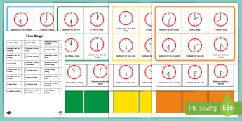 Half Past and O'Clock Time Bingo-Irish - Requests - ROI, Gaeilge, Mata, irish, Maths, Time am, an t-am, clock,an  chlog, clog,Irish