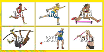 The Olympics Ordinal Number (on Athletes) - Olympics, Olympic Games, sports, Olympic, London, 2012, display posters, counting, 1-31, 1st, 2nd, 3rd, first, second, third, foundation stage numeracy, ordinal, numeracy