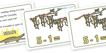5 Little Monkeys Number Sentence Frames - 5 Little Monkeys, nursery rhyme, number, numeracy, sentence frame, frames, rhyme, rhyming, nursery rhyme story, nursery rhymes, counting rhymes, taking away, subtraction, counting basckwards, 5 Littl