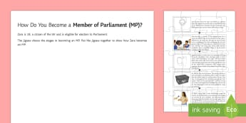 From Candidate to MP Jigsaw Activity Sheet  - General Election, 08/06/2017, worksheet, political process, civil engagement.