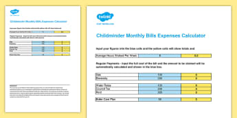 Childminder Monthly Bills Expenses Calculator  Spreadsheet - child minder, accounts, accounting, tax, hMRC,