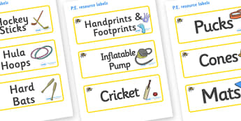 Bumble Bee Themed Editable PE Resource Labels - Themed PE label, PE equipment, PE, physical education, PE cupboard, PE, physical development, quoits, cones, bats, balls, Resource Label, Editable Labels, KS1 Labels, Foundation Labels, Foundation Stage