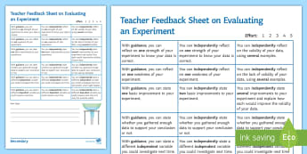 Evaluating an Experiment Formative Assessment Sheet - AfL, assessment, science skills, evaluating an experiment, experiment evaluation, feedback