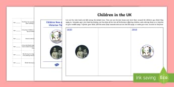 The Victorians Children Now and Then - Working children, factory act, education, victorian, history, ks2