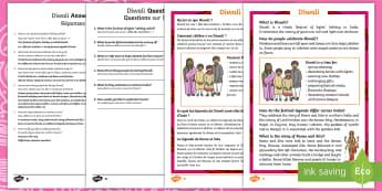 Diwali Differentiated Reading Comprehension Activity English/French  - Diwali, Hindu, Hinduism, festival, light, rama, sita, ravana, party, reading, facts, information, no