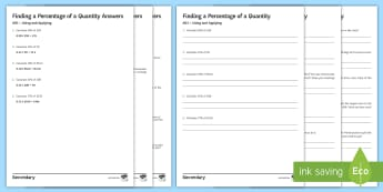 Finding a Percentage of a Quantity Differentiated Activity Sheets - Using applying, reasoning fluency, problem Solving, A01, A02, A03, Worded Questions