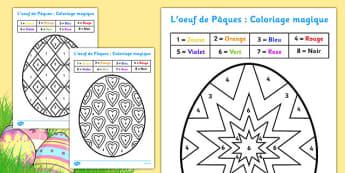 L'oeuf de Pâques : Coloriages magiques - french, colouring, sheets, colouring by numbers, colour by number, easter, easter numbers, easter colouring, easter colouring sheets, counting, numeracy, colour recognition, colouring activity