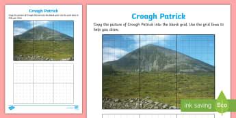 Croagh Patrick Art Activity Sheet - ROI - The World Around UsWAU, worksheet, Irish