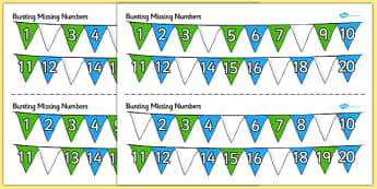 Bunting Missing Number to 20 Activity Sheets - bunting, numbers, maths, Count, numbers to 20, missing number, numeral recognition