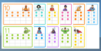 Superhero-Themed Double Tens Frames - superhero, double tens, frames, twenty, maths, number, bonds, 20, counting, addition