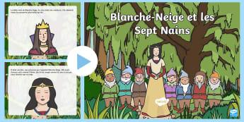 PowerPoint : Blanche-Neige et les Sept Nains - conte, histoire, féerie, reine, sorcière, cycle 1,French