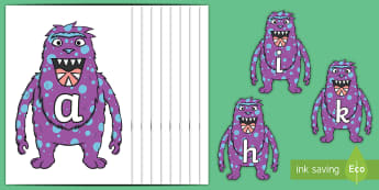 Phase 2 Phonemes on Monsters - Phonemes, phoneme, Phase 2, Phase two, Foundation, Literacy, Letters and Sounds, DfES, display
