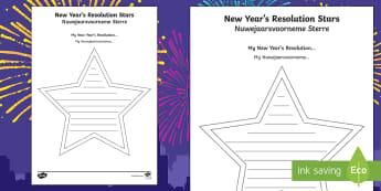 New Year Resolution Stars Writing Activity Sheet English/Afrikaans - January, Januarie, celebrate, write, literacy, skryf, EAL
