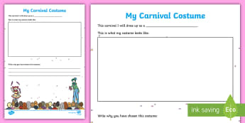 My Carnival Costume Worksheet / Activity Sheet - carnival, Germany, German, costume, dress up, fancy dress, fasching, Mardi Gras