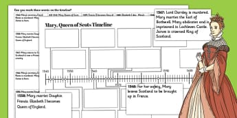 Mary Queen of Scots Timeline Worksheet - timeline, mary, scots