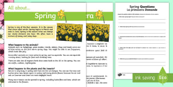 Spring Reading Differentiated Comprehension Worksheet / Activity Sheets English/Italian - KS1, reading, comprehension, spring, questions, answers, fact file,comprehesion,comprehnsion,compreh
