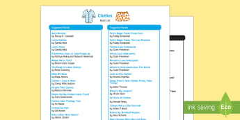 Clothes Book List - EYFS, Early Years, Literacy, Reading, Book Corner, Reading Area, Fiction, non-fiction, Clothes, shoe