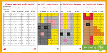 Chinese New Year Mixed Operations Mosaics - Chinese New Year KS1. KS2, EYFS, Celebration, festivals, rooster, add subtract, multiply, take away
