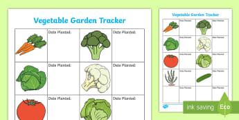Vegetable Garden Tracker Activity - tidy kiwi, New Zealand, rubbish, recycling, Years 1-6, vegetables, tracker,activity