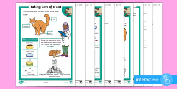 KS1 How To Look After A Cat Differentiated Comprehension Go Respond Activity Sheets - Pets, pet, EYFS, KS1, take, care, look, after, family, member, members, vet, vet surgery, surgery, i