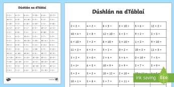 Bileog Oibre: Dúshlán na dTáblaí - KS1 Ultimate Times Tables Challenge Worksheet / Activity Sheet, worksheet, maths challenge, dúshlán mata, mult