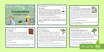 Conservation Scenario Question Cards - KS2  Big Birdwatch, RSPB, school, bird, bird watch, conservation, discussion, debate cards, conserva