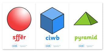3D Shapes Posters (Welsh) - Shape poster, Shape flashcards, Shape recognition, Welsh, cymru, Wales