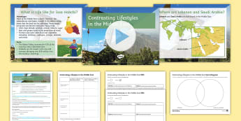 Contrasting Lifestyles in the Middle East Lesson Pack - Middle East, Oil, Farmer, water, Saudi Arabia, Lebanon, lifestyles, Exam-style question