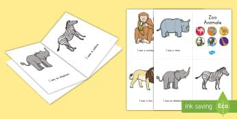 Zoo Animals Emergent Reader - Early Childhood Animals, Animals, Pre-K Animals, K4 Animals, 4K Animals, Preschool Animals, Zoo Anim