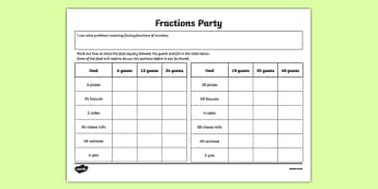 Year 3 Fractions Party Worksheet / Activity Sheet - fraction, maths, numbers, numeracy, year 3, ks2, lks2, numerator, denominator, fun, worksheet