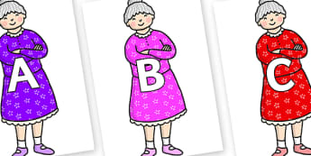 A-Z Alphabet on Enormous Turnip Old Woman - A-Z, A4, display, Alphabet frieze, Display letters, Letter posters, A-Z letters, Alphabet flashcards
