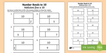 Bar Modelling Number Bonds to 10 Differentiated Activity Sheet English/Italian - Bar Modelling Number Bonds to 10 Differentiated Activity Sheets - bar model, bar modelling, number b