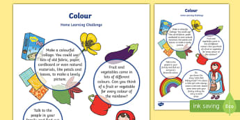 Colour Home Learning Challenge Sheet Nursery FS1